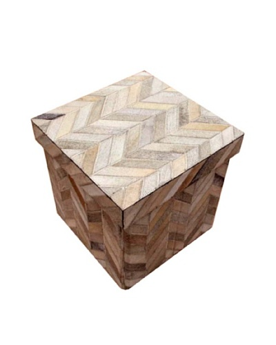 """Design Accents Collapsible Box with Chevron Cowhide, Grey, 16"""""""