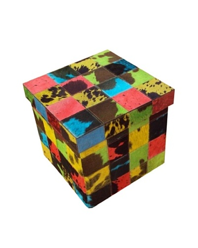Design Accents Collapsible Box with Cowhide Squares, Multi, 17