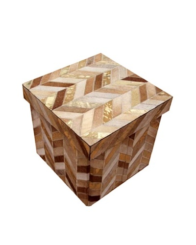 Design Accents Collapsible Box with Chevron Cowhide, Beige/Gold, 16
