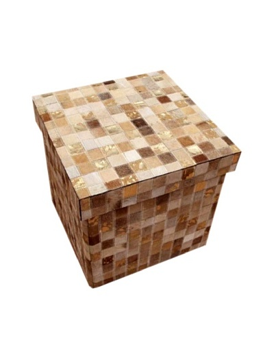 Design Accents Collapsible Box with Cowhide Squares, Beige/Gold, 16