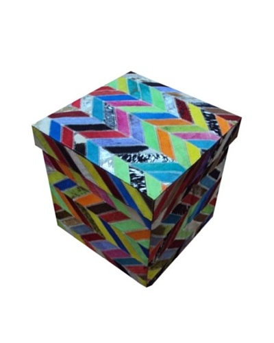 Design Accents Collapsible Box with Chevron Cowhide, Multi, 17