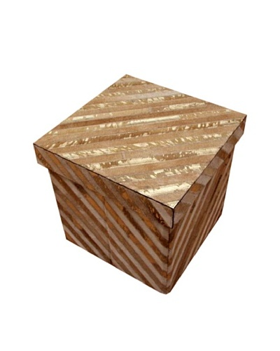 Design Accents Collapsible Box with Diagonal Cowhide, Beige/Gold, 16