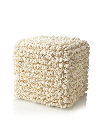 Design Accents Funberry Pouf, Ivory, 18 x 18 x 18