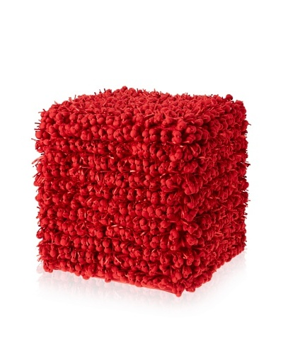 "Design Accents Funberry Pouf, Red, 18"" x 18"" x 18"""