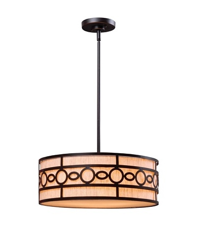 Design Craft Elba 3 Light Pendant, Oil Rubbed Bronze Finish, 7 Inch Height, 18 Inch Diameter