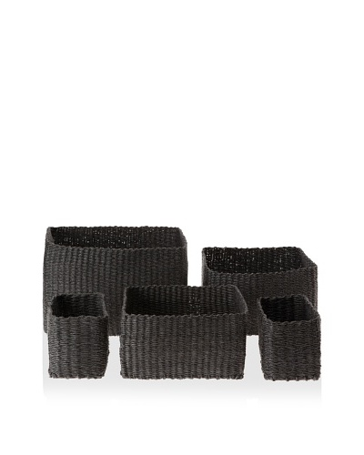 Design Ideas Set of 5 Buri Baskets, Charcoal Gray