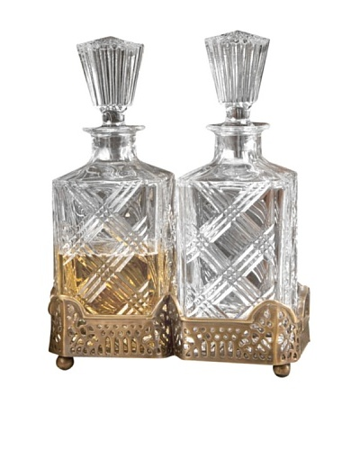 Dessau Home Gallery Holder with 2 Crystal Decanters