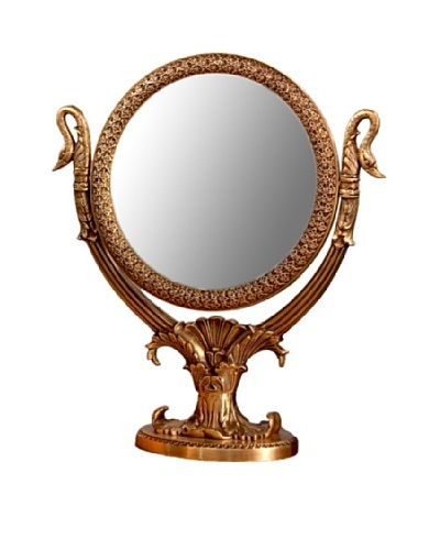 Dessau Home Antique-Finished Brass Double-Sided Swan Mirror