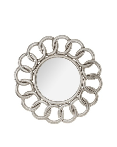 Diamond Reef Interlocking Design Carved Wooden Wall Mirror [Antique Silver]