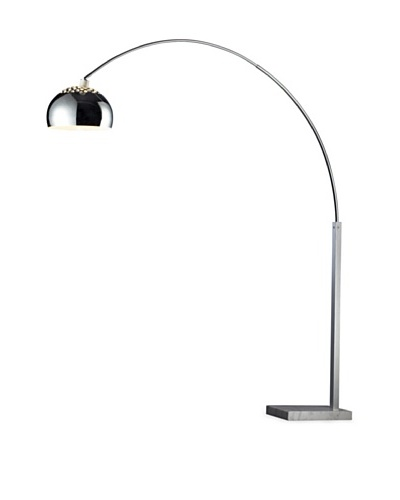 Dimond Lighting Penbrook Adjustable Arc Floor Lamp, Silver Plated and White Marble