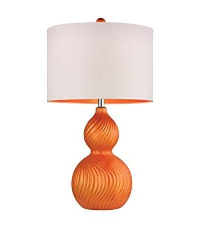 Dimond Lighting Tangerine Orange Swirled Gourd Ceramic Table Lamp