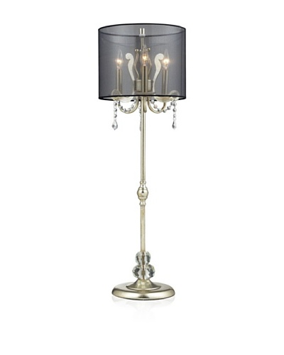 Dimond Andover  Tall Buffet Lamp In Siver Leaf With Black Organza Shade., Silver Leaf