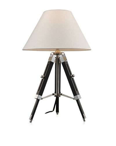 Dimond Studio Table Lamp In Chrome And Black With Pure White Woven Linen Shade , Chrome And Black