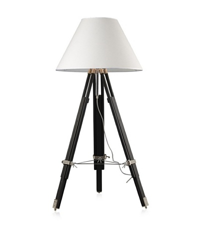 Dimond Lighting Adjustable Studio Floor Lamp in Chrome and Black with Woven Linen Shade
