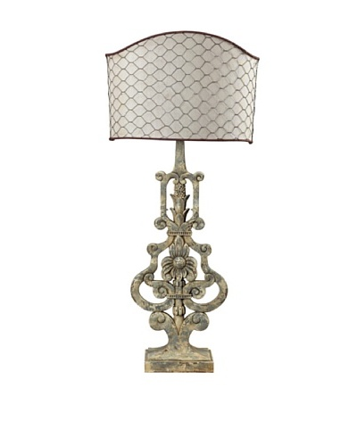 Avignon Table Lamp with Linen Chicken Wire Shade