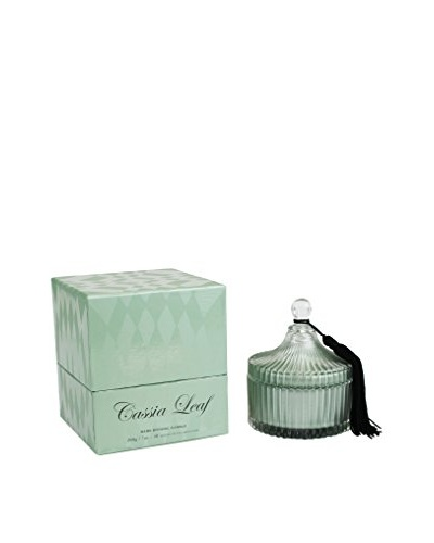 D.L. & Co. Ribbed Glass 7-Oz. Jar Candle with Tassel, Cassia Leaf