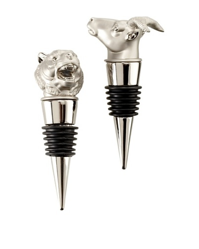 D.L. & Co. Set of 2 Metal Wine Stoppers, Tiger/Ram