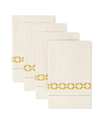 D.L. Rhein Set of 4 Geo Link Guest Towels [Marigold]