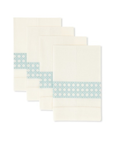 D.L. Rhein Set of 4 Geo Grid Guest Towels [Seafoam]