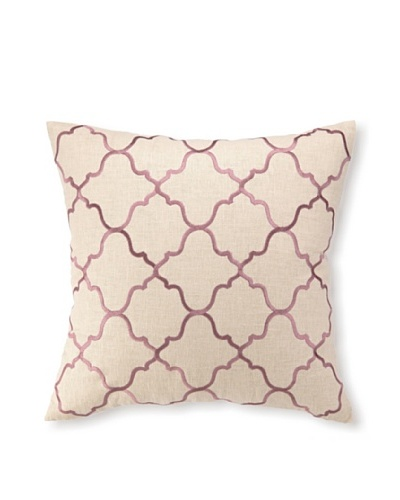 "D.L Rhein Moroccan Tile Embroidery Pillow, Orchid, 20"" x 20"""