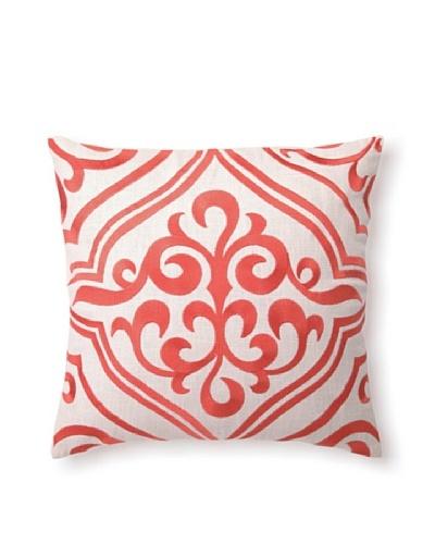"D.L Rhein Tile Embroidery Pillow, Mango, 16"" x 16"""
