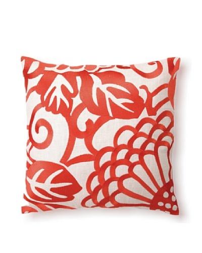 "D.L Rhein Chrysanthemum Embroidery Pillow, Mango, 16"" x 16"""