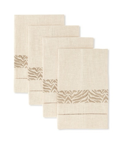 D.L. Rhein Set of 4 Zebra Print Guest Towels [Taupe]