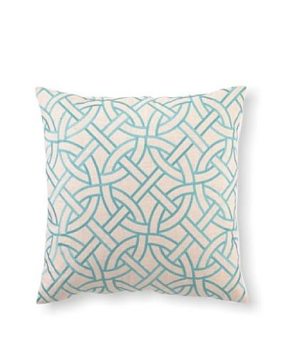 D.L Rhein Circle Link Embroidery Pillow, Turquiose, 20 x 20