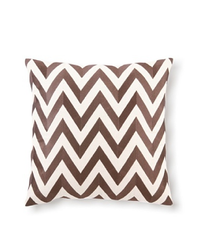 D.L Rhein Zig-Zag Embroidery Pillow, Chocolate, 20 x 20