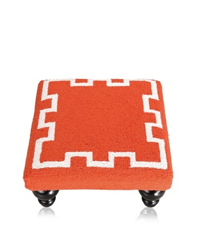 D.L. Rhein Simple Greek Key Footstool, Orange