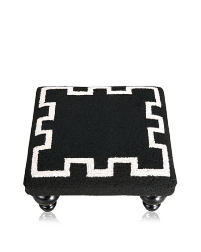 D.L. Rhein Simple Greek Key Footstool, Black