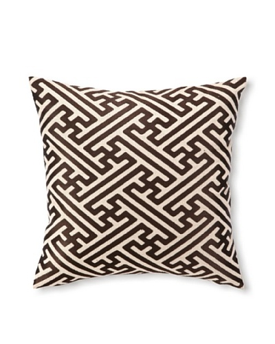 D.L Rhein Cross-Hatch Embroidery Pillow, Chocolate, 16 x 16