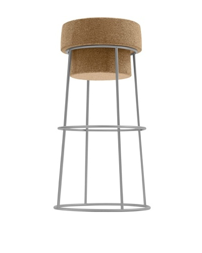 Domitalia Bouchon Counter Stool, Satinated Aluminum
