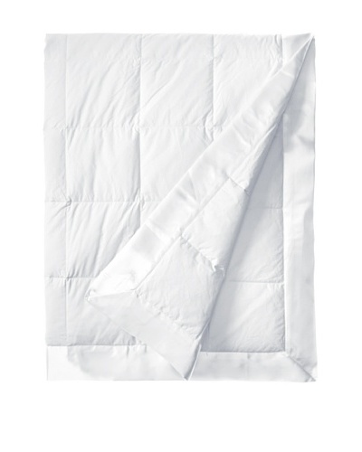 Downright White Down Blanket With Satin Trim