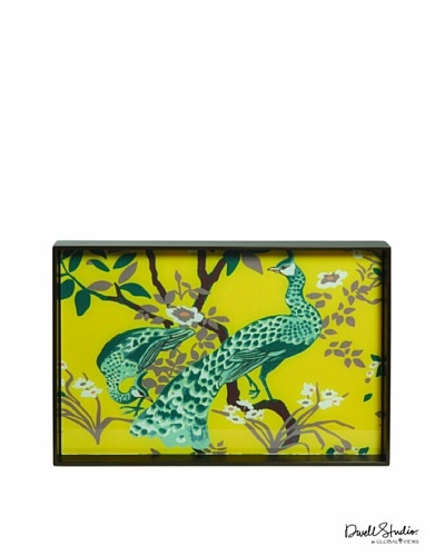 Dwell Studio by Global Views Peacock Rectangle Lacquered Wood Tray