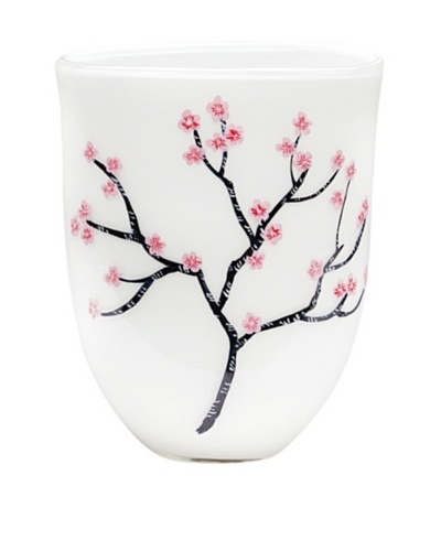 Dynasty Gallery Hand-Painted Mouth-Blown Cherry Blossom Vase with Flat Base