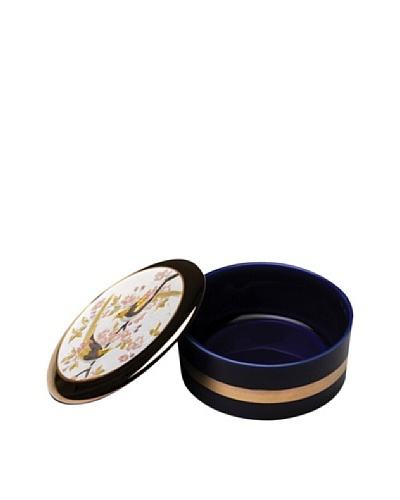 Dynasty Gallery Chokin Art Royal Blue Round Box