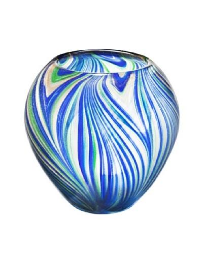 Dynasty Gallery Mouth-Blown Nest Aventurine Glass Vase