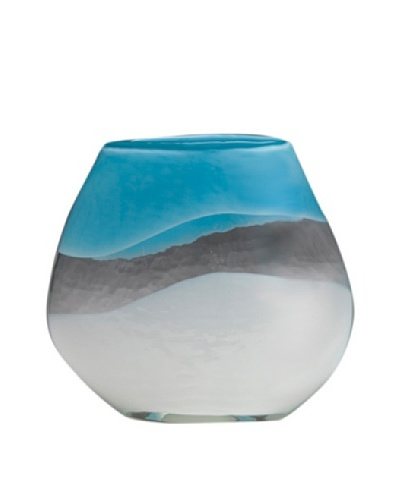 Dynasty Glass Capri Collection Pillow Vase, Turquoise