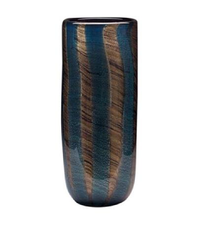 Dynasty Glass Toscana Collection Cylinder Vase, Blue Vertigo