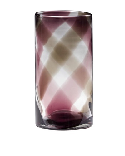 Dynasty Glass Viola Collection Tall Vase, Purple Plaid