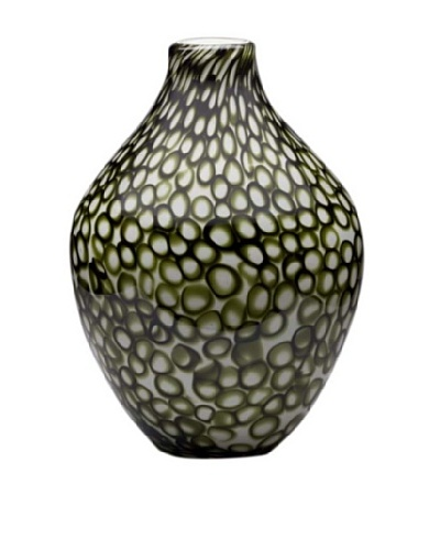 Dynasty Glass Torino Collection - Acorn Vase - Mod Rings Green