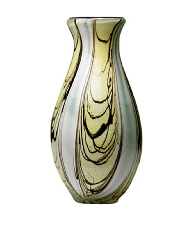 Dynasty Glass Venezia Collection Vase, Green Root