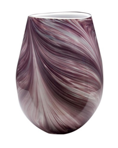 Dynasty Glass Viola Collection Wide Vase, Violet Feather