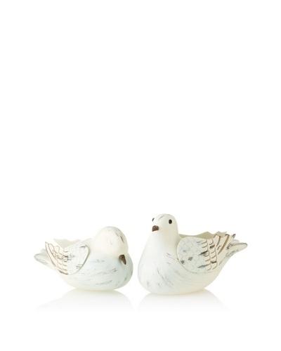 Set of 2 Love Doves, White/Blue