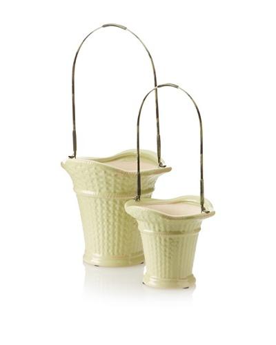Set of 2 Victorian Basket Planters, Light Green