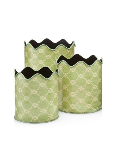 Set of 3 Scalloped Garden Trellis Bins, Green