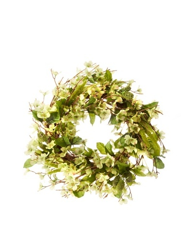 Faux Wild Dogwood Wreath, Green/White