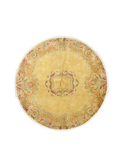ecarpetgallery Silk Touch Rug, Light Gold, 7' 8 Round