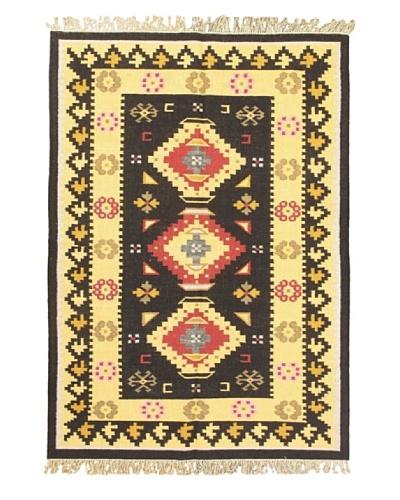 eCarpet Gallery Anatolian Kilim, Black/Cream, 4' 7 x 6' 6
